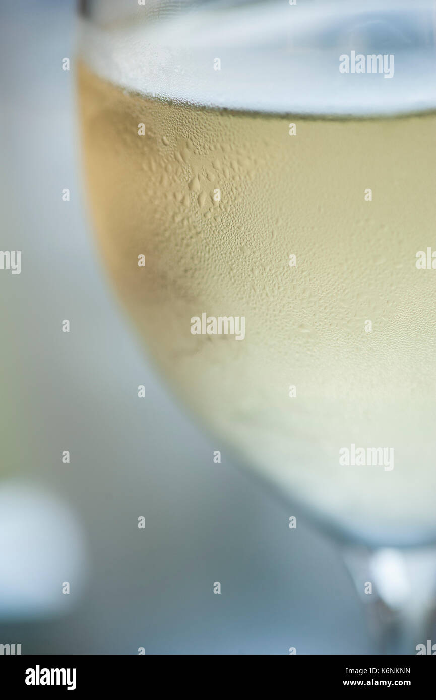 Humidity Condenses on a Wine Glass - Stock Image