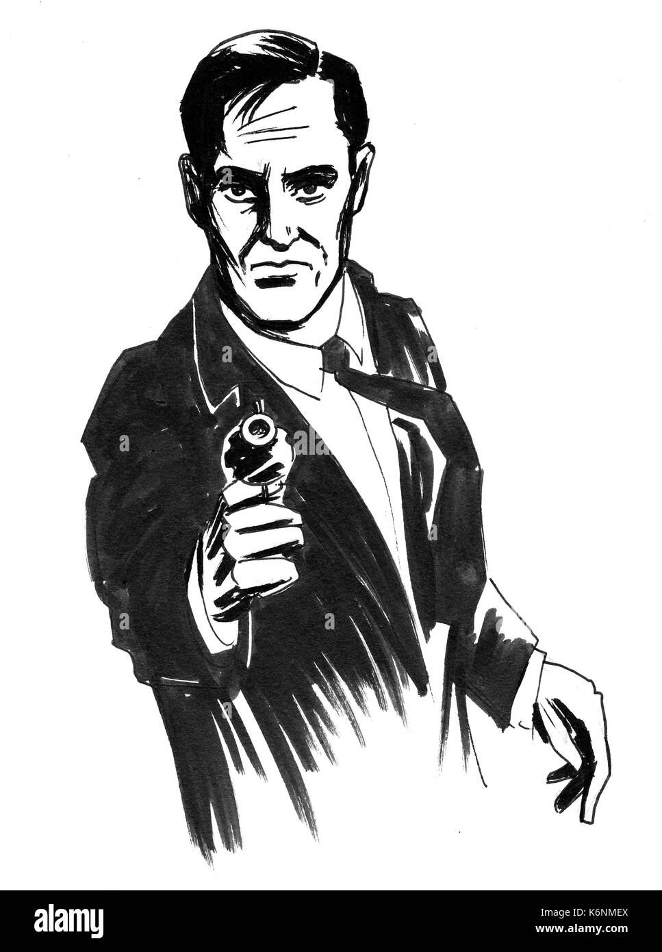 Retro styled drawing of a man with a gun