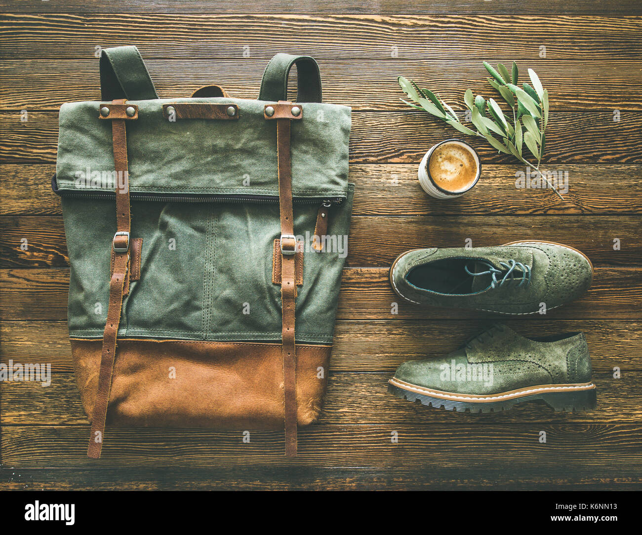 Flat-lay of woman's fall accessories and coffee - Stock Image