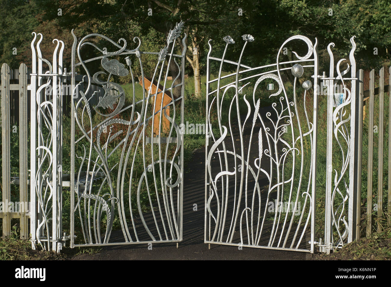 Custom made galvanized wrought iron gates Stock Photo