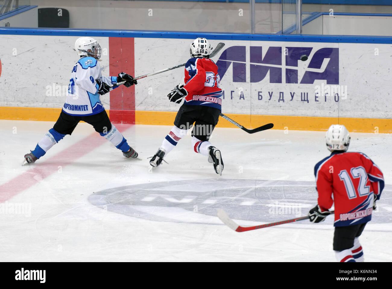 St. Petersburg, Russia - March 25, 2016: Ice hockey match Bobrov vs