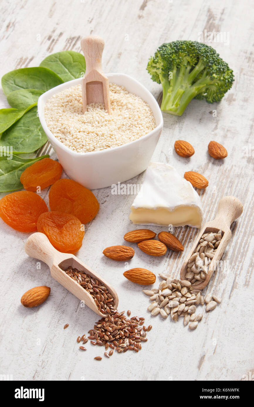 Ingredients or products containing calcium and dietary fiber with natural minerals, healthy lifestyle and nutrition Stock Photo