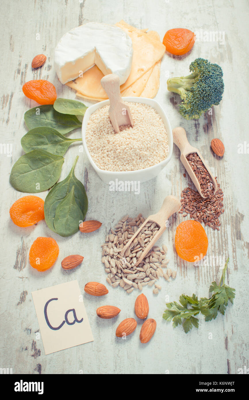 Vintage photo, Ingredients or products containing calcium and dietary fiber, natural sources of minerals, healthy lifestyle and nutrition - Stock Image