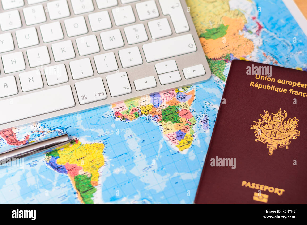 Worlds map with keyboard passport and pen stock photo 159063898 worlds map with keyboard passport and pen gumiabroncs Gallery