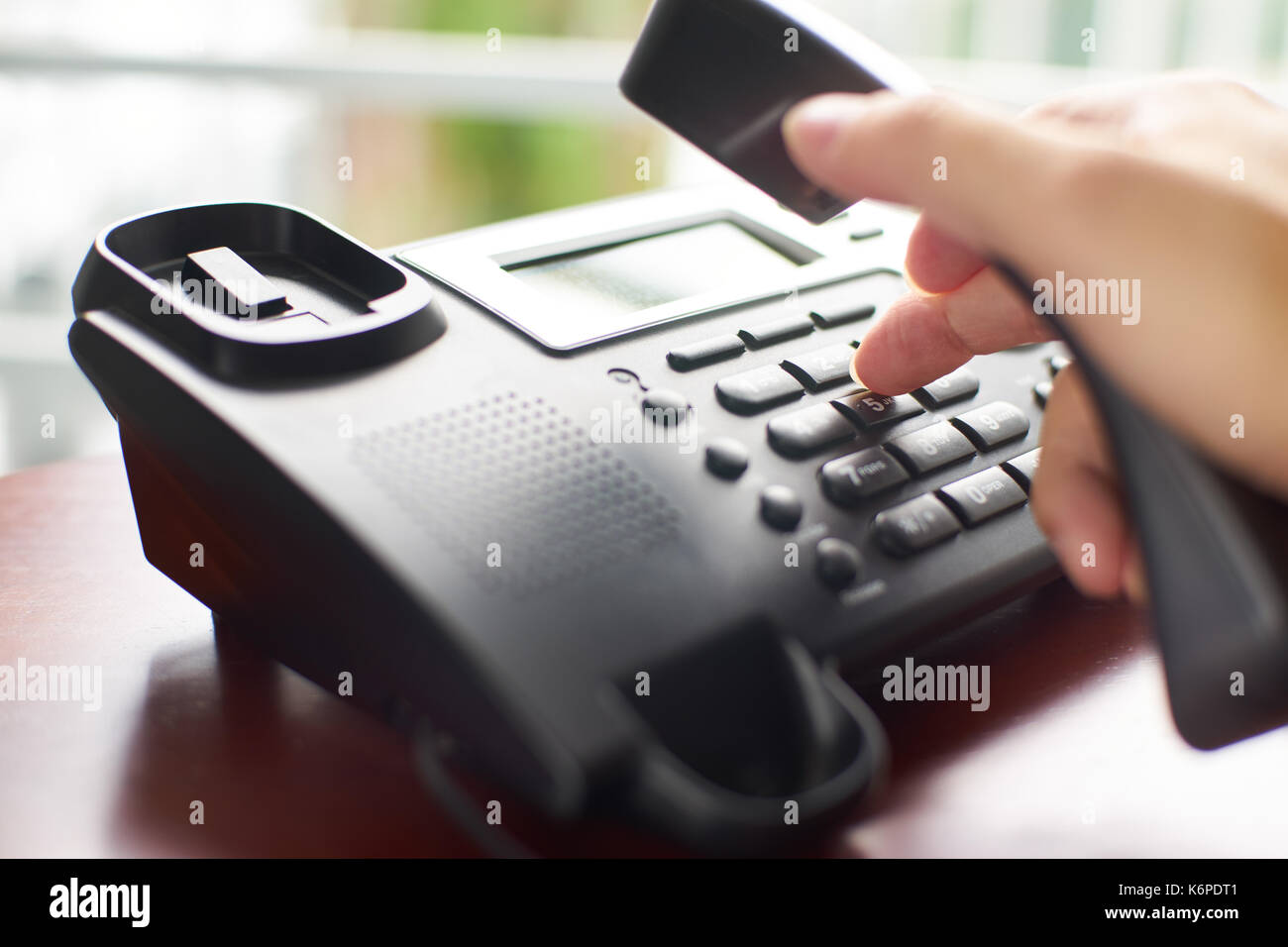 Telephone dialing ,contact and customer service concept . Selected focus . - Stock Image