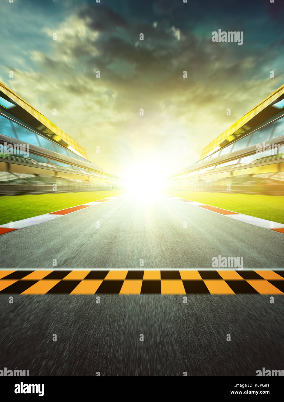 View of the infinity empty asphalt international race track starting or end line, Motion blurred effect. - Stock Image