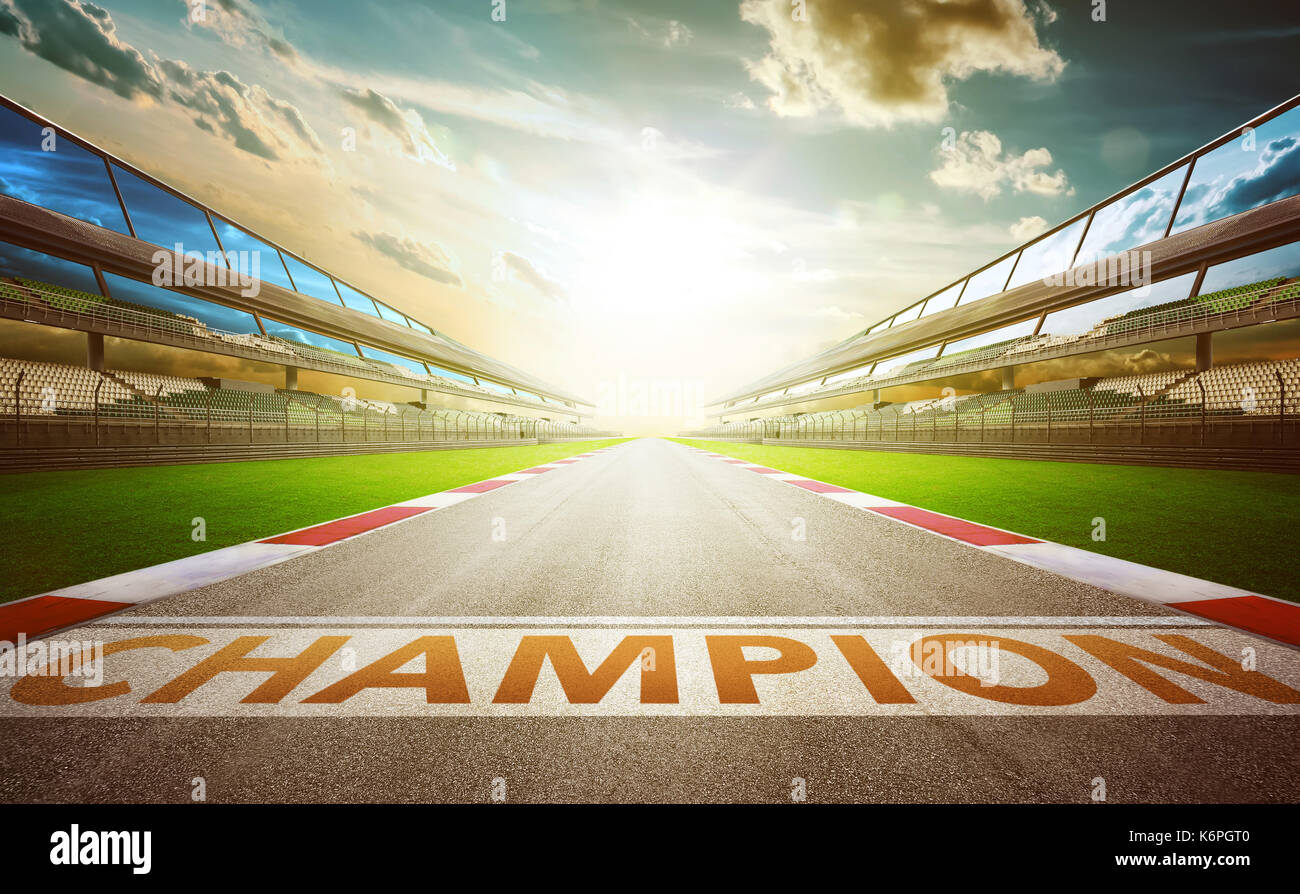 View of the infinity empty asphalt international race track with champion word start line . evening scene . - Stock Image