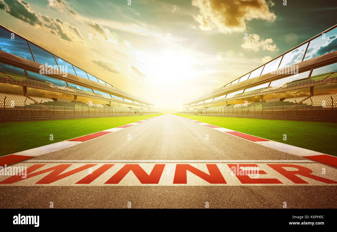 View of the infinity empty asphalt international race track with winner word start line . evening scene . - Stock Image