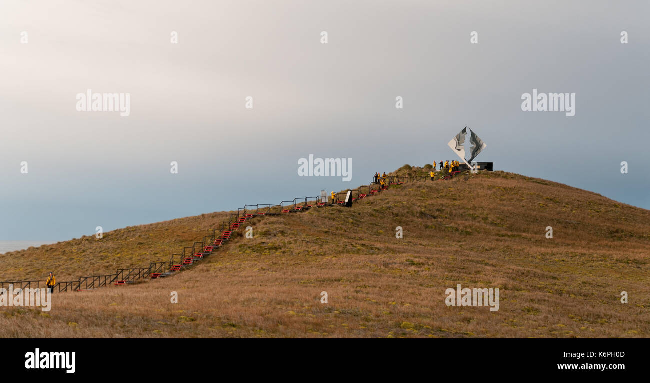 Walkway and monument, Cape Horn, Chile - Stock Image