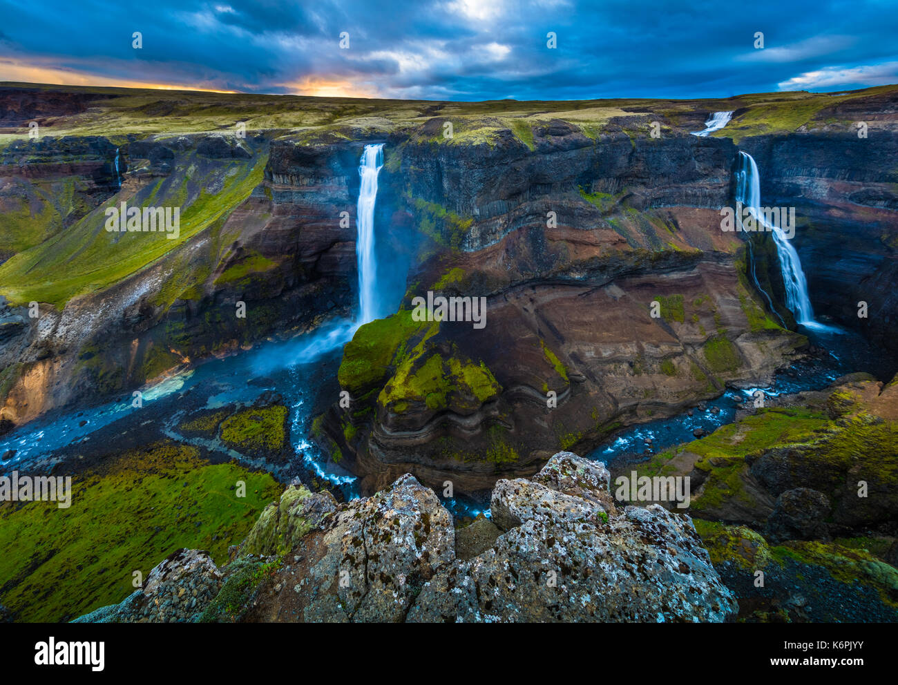 The waterfall Háifoss is situated near the volcano Hekla in the south of Iceland. The river Fossá, a tributary of Þjórsá, drops here from a height of  - Stock Image