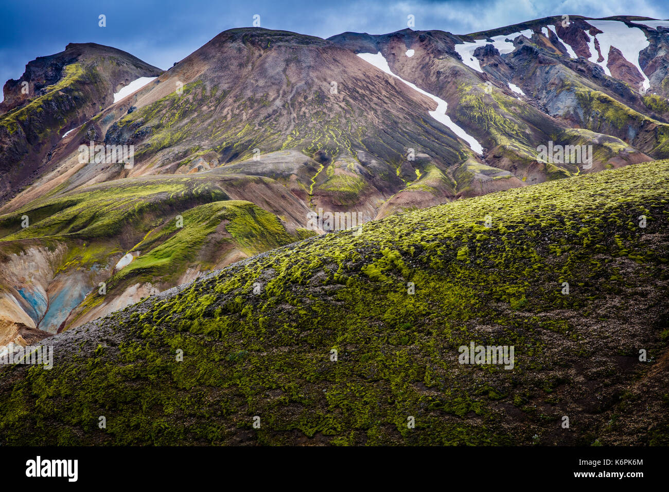 Landmannalaugar is a place in the Fjallabak Nature Reserve in the Highlands of Iceland. It is at the edge of Laugahraun lava field, which was formed i - Stock Image