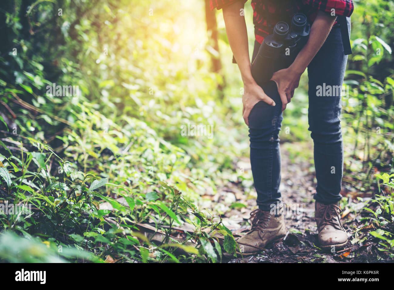 Hiking muscle pain. Stock Photo