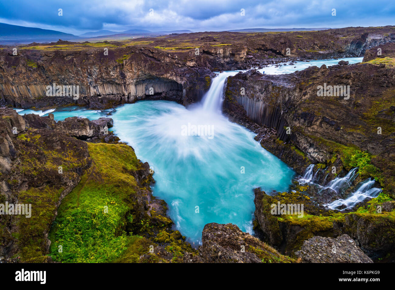 The Aldeyjarfoss waterfall is situated in the north of Iceland at the northern part of the Sprengisandur Highland Road in Iceland - Stock Image