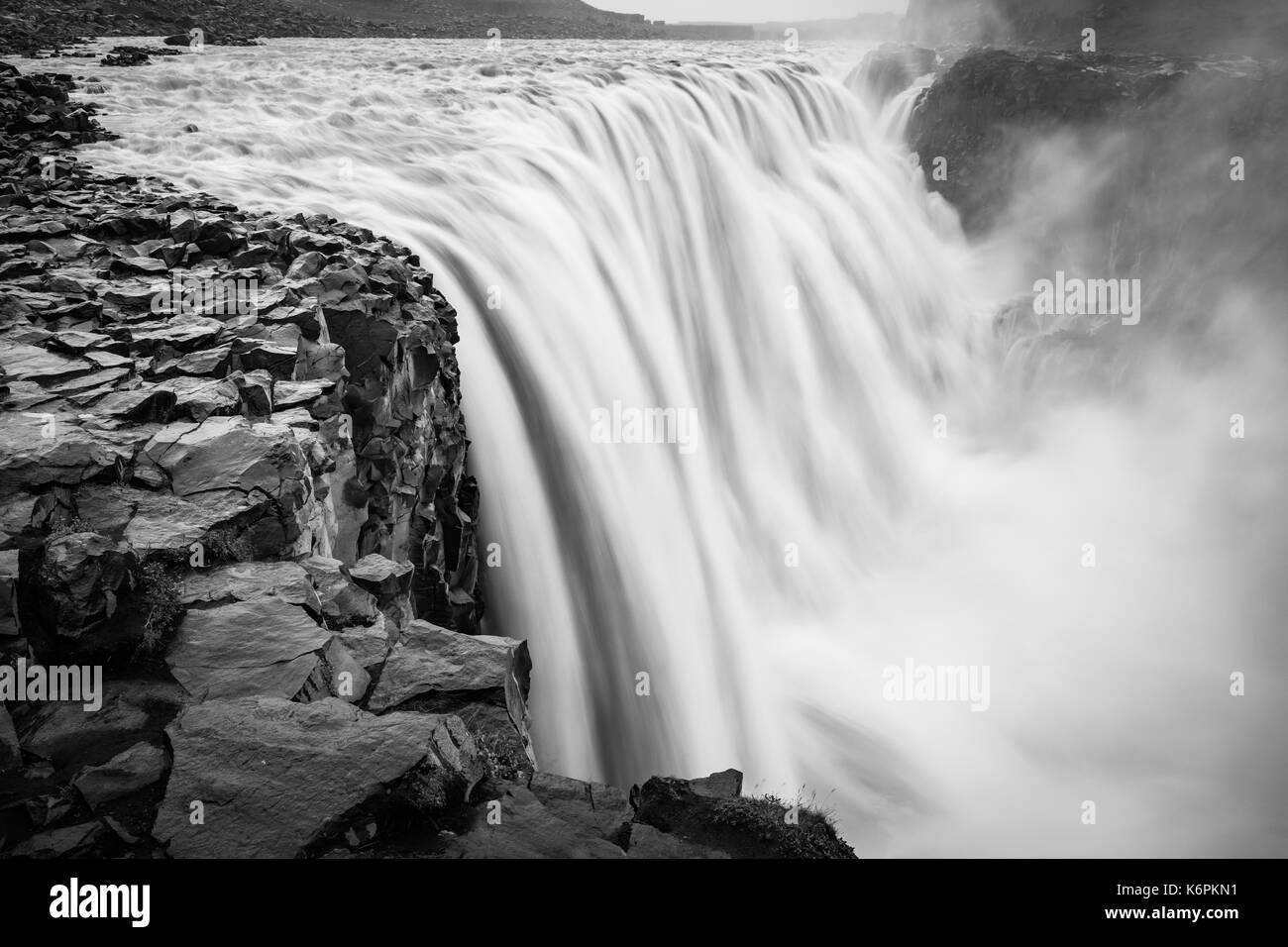 Dettifoss is a waterfall in Vatnajökull National Park in Northeast Iceland, and is reputed to be the most powerful waterfall in Europe. The water come - Stock Image