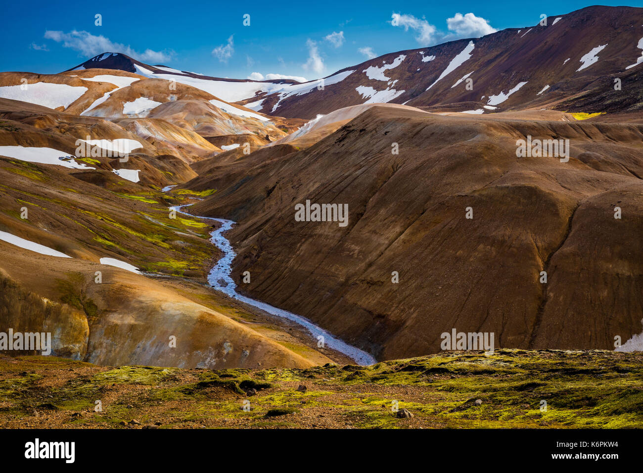 Kerlingarfjöll is a 1,477 m (4,846 ft)) tall mountain range in Iceland situated in the Highlands of Iceland near the Kjölur highland road. - Stock Image