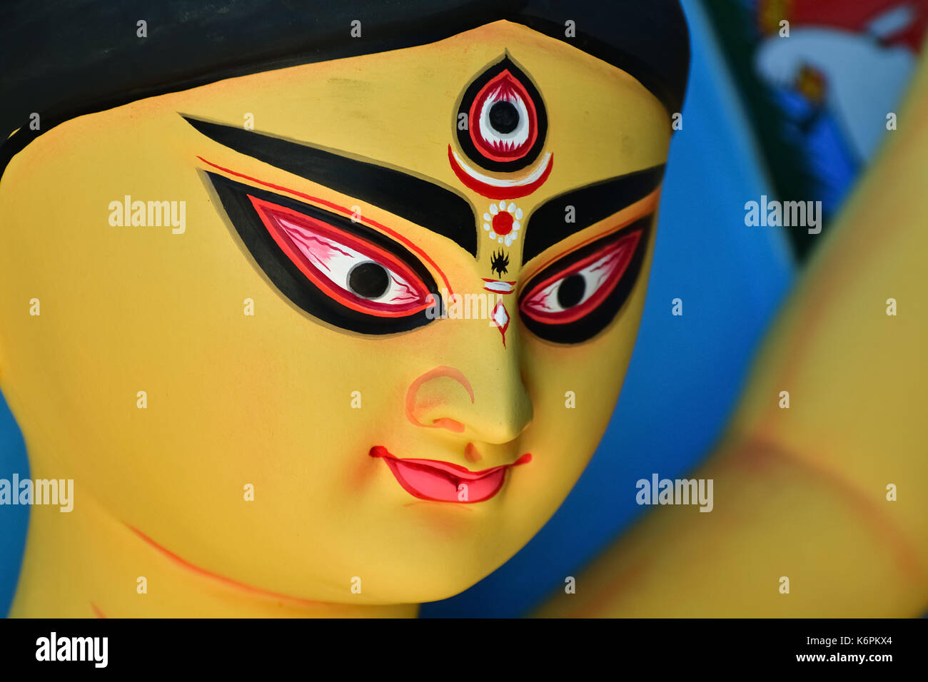 Goddess idols are being prepared with clay before festival. Idols being made for Durga Puja festival. Sculpture of goddess durga. - Stock Image
