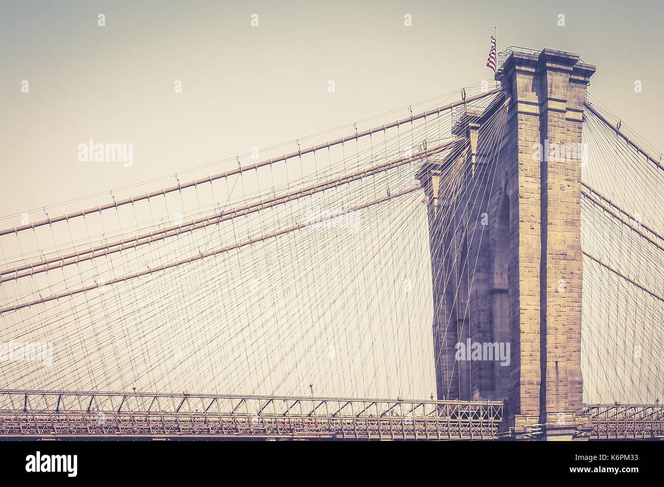 New York, USA - 28 September, 2016: Close up image of the Brooklyn Bridge which joins the Manhattan and Brooklyn Boroughs of New York. - Stock Image