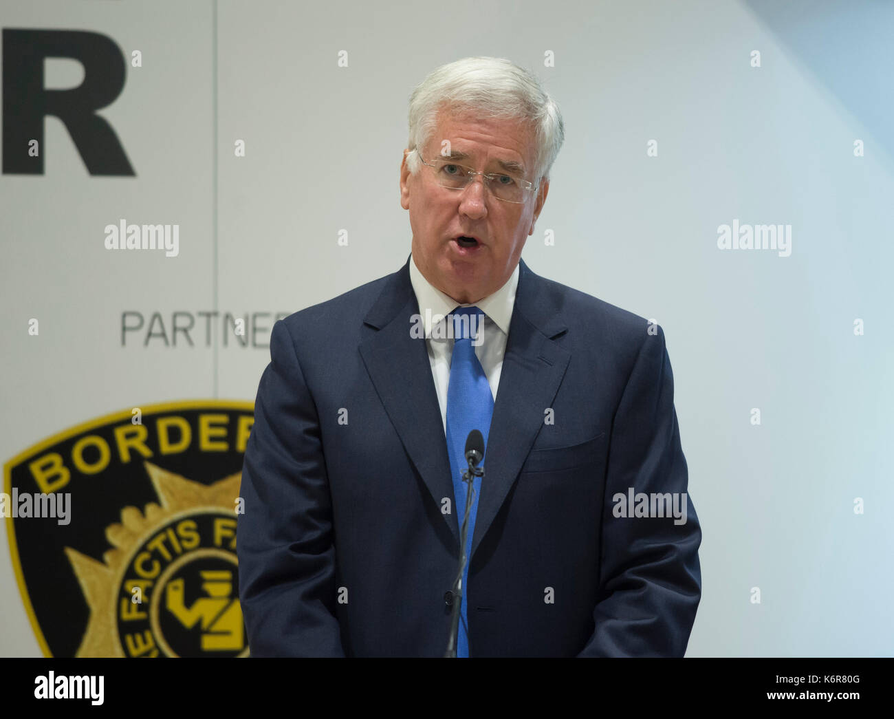 ExCel, London, UK. 13th Sep, 2017. Defence and Security Equipment International (DSEI), the worlds leading global defence and security event runs from 12-15 September 2017. Keynote speaker Secretary of State for Defence The Rt Hon Sir Michael Fallon MP addresses delegates on threats, cyber terrorism and defence spending budgets. In October 2017 Sir Michael Fallon resigned as Defence Secretary. Credit: Malcolm Park/Alamy Live News. - Stock Image