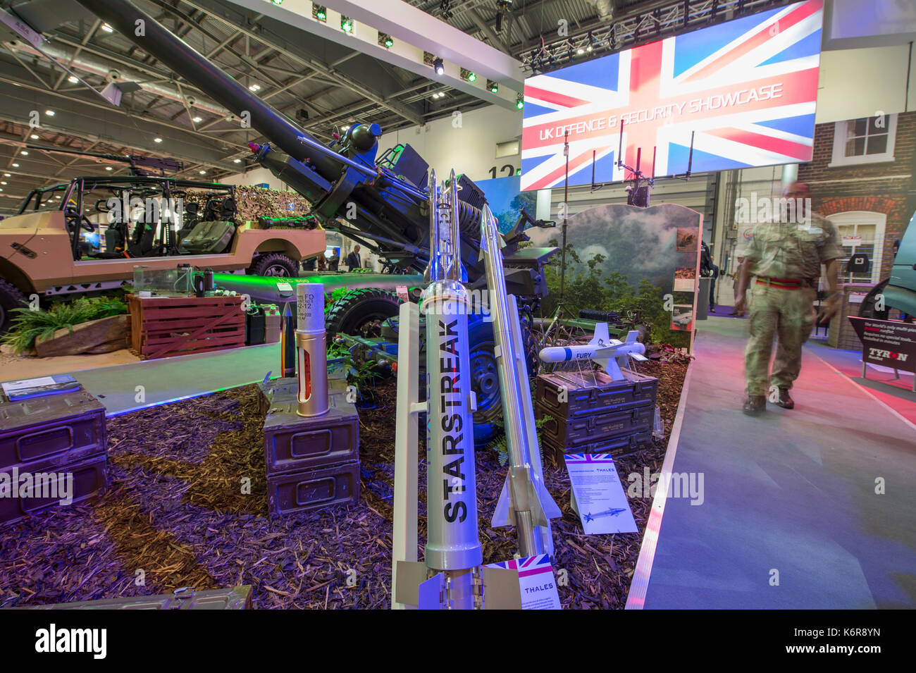 ExCel, London, UK. 13th Sep, 2017. Defence and Security Equipment International (DSEI), the worlds leading global defence and security event runs from 12-15 September 2017 showcasing the latest equipment and systems. UK Defence Security stand showcases Starstreak MANPADS, the fastest short-range surface-to-air missile in the world, manufactured by Thales Air Defence in Belfast (formerly Shorts Missile Systems). Credit: Malcolm Park/Alamy Live News. - Stock Image
