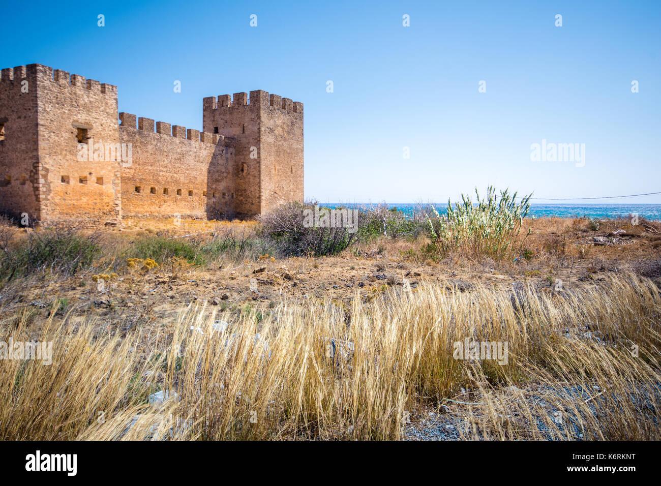 Castle at Frangokastello beach, Crete, Greece Stock Photo