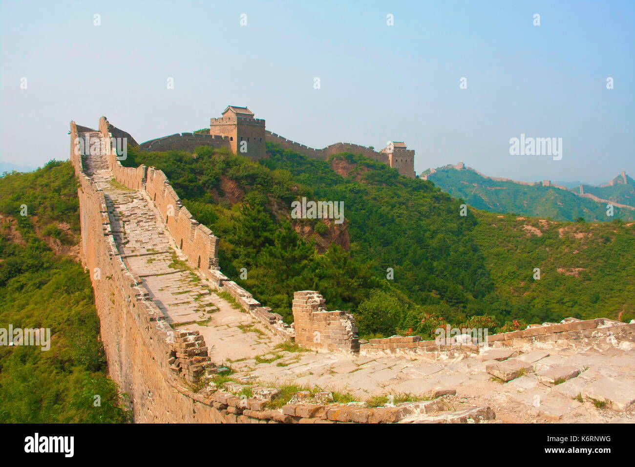 Treking and walking The Great Wall in summer time. Beijing , China Stock Photo