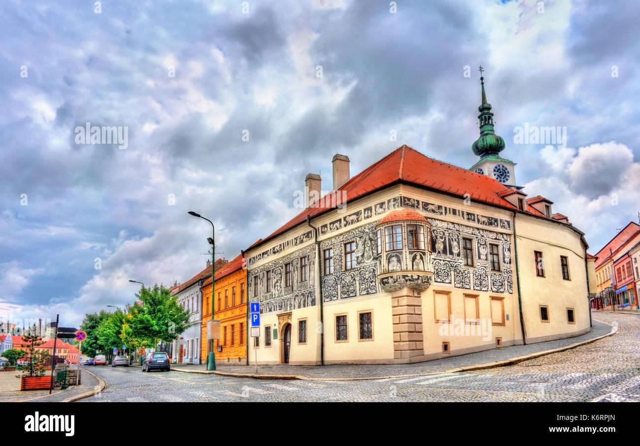 Graffiti decorated house in Trebic, Czech Republic - Stock Image
