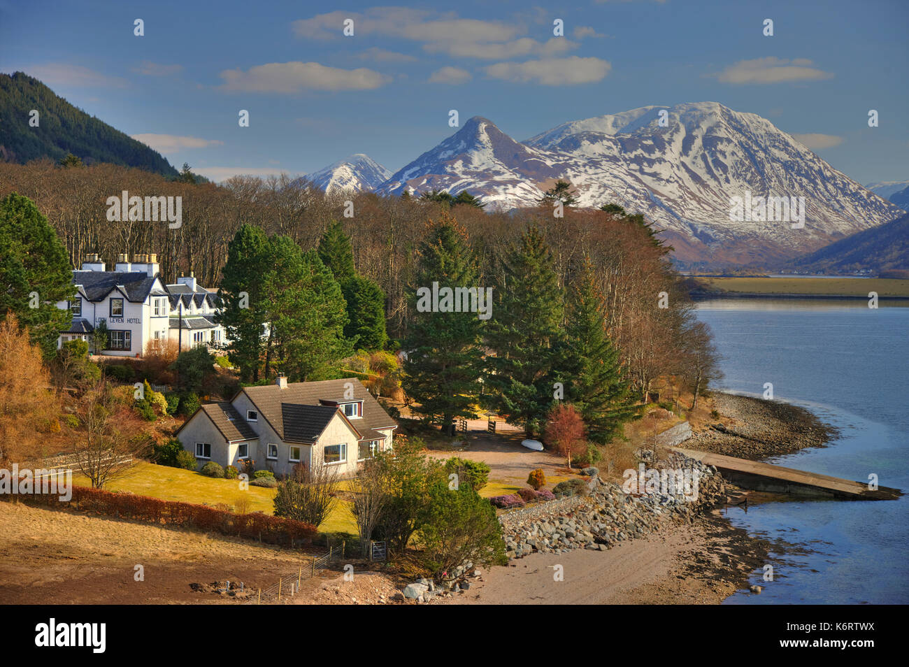 Winter view towards the Pap of Glencoe and Loch Leven from North Ballachulish,West Highlands - Stock Image