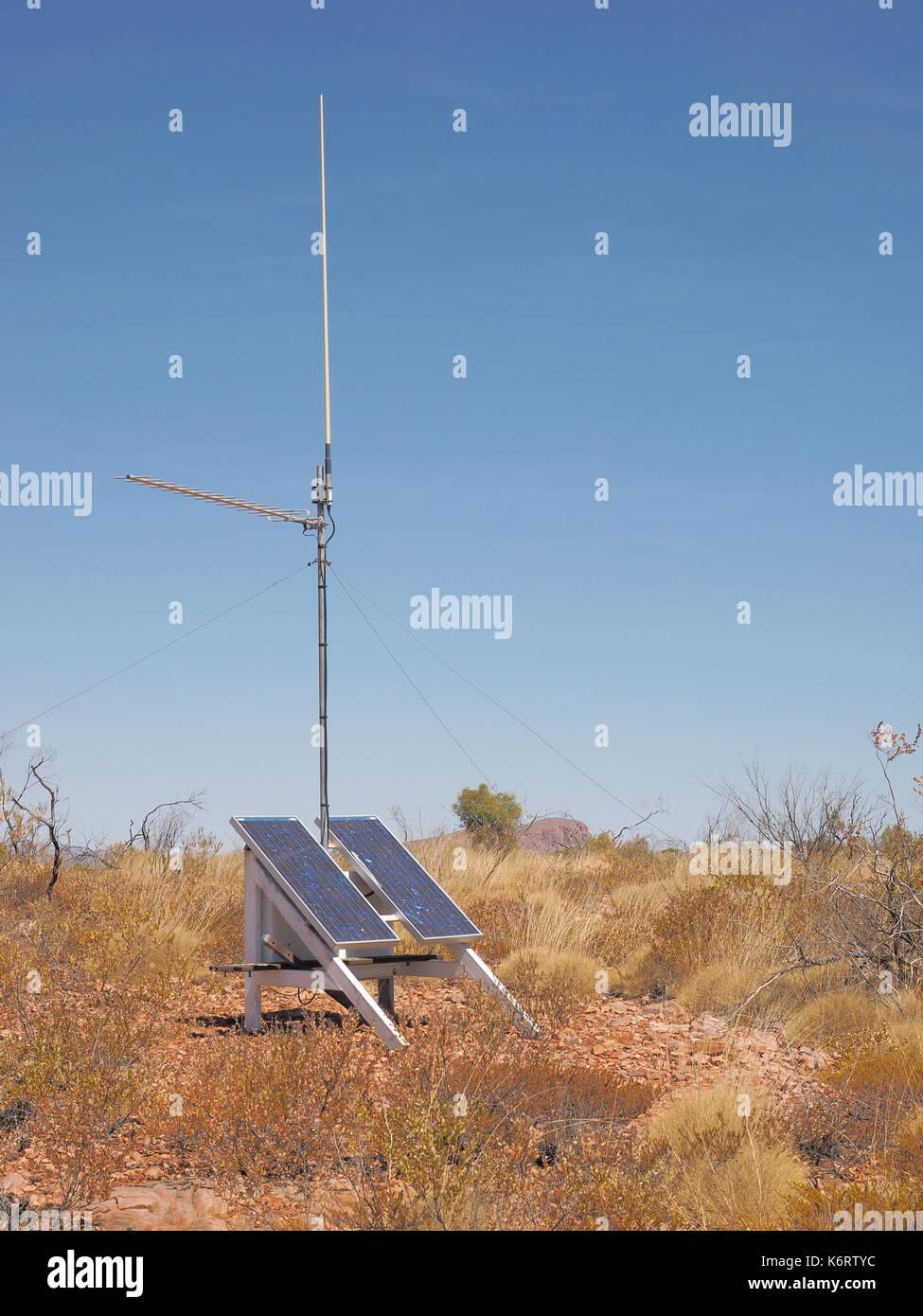 Solar powered UHF radio repeater station near Turners Lookout at Trephina Gorge national park , part of the east MacDonnell ranges near Alice Springs, - Stock Image