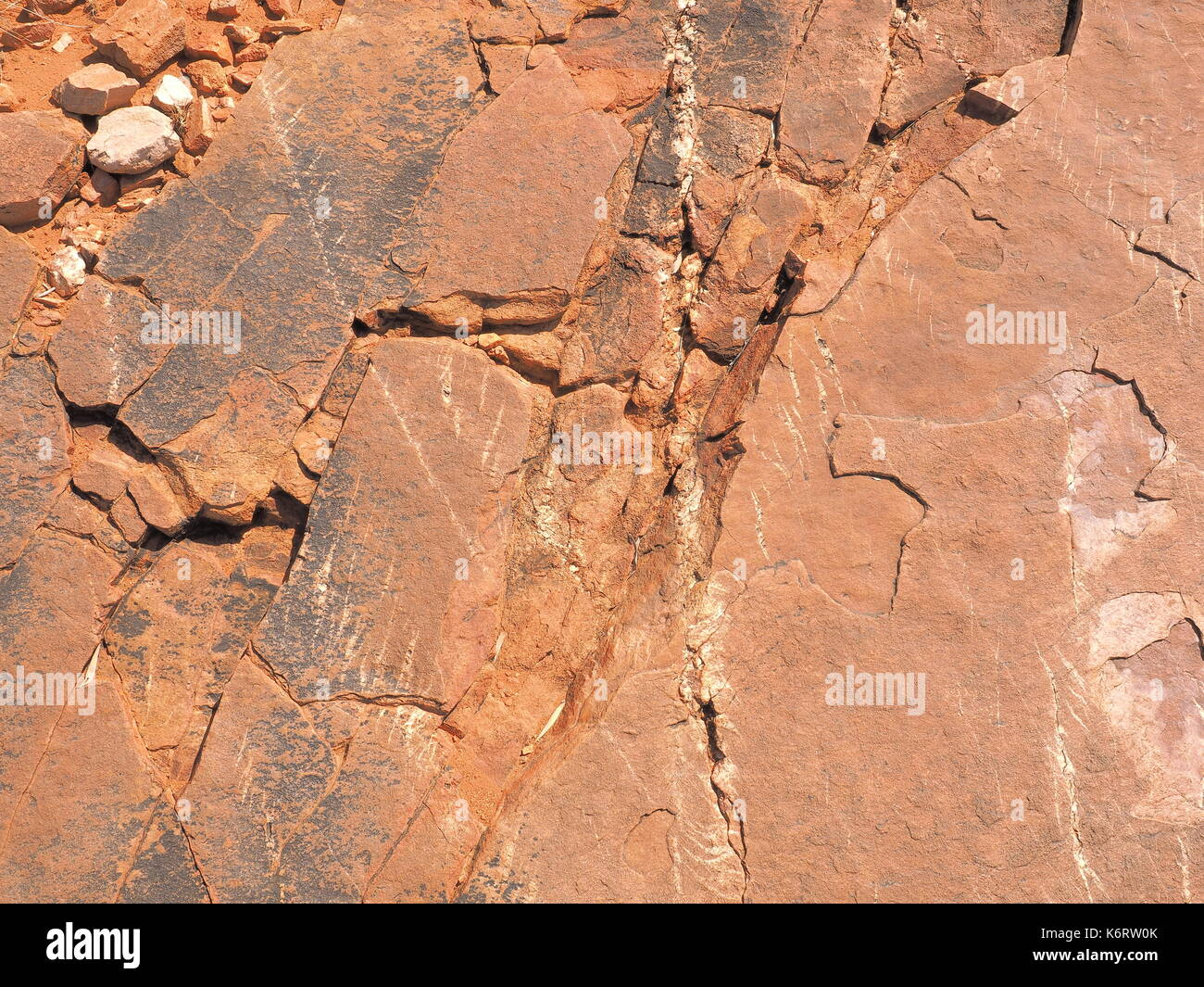 Red rock surface east MacDonnell ranges near Alice Springs, Northern Territory, Australia 2017 - Stock Image