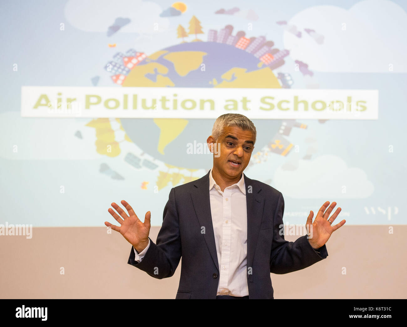 Mayor of London Sadiq Khan launches the first of 50 'air quality audits' at Prior Weston Primary School in central London, which is located close to a busy road which has pollution levels that are twice the legal limit. - Stock Image
