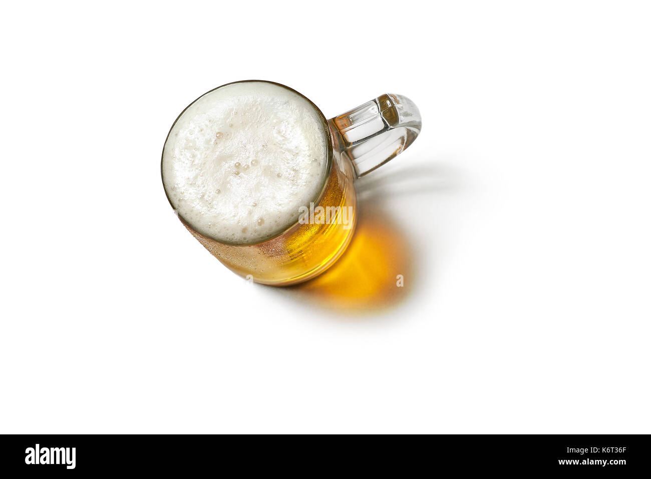 Beer mug isolated on white background.Top view - Stock Image