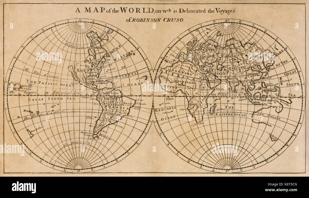 "'A Map of the World on which is Delineated the Voyage of Robinson Crusoe' frontispiece foldout map from ""The Farther - Stock Image"
