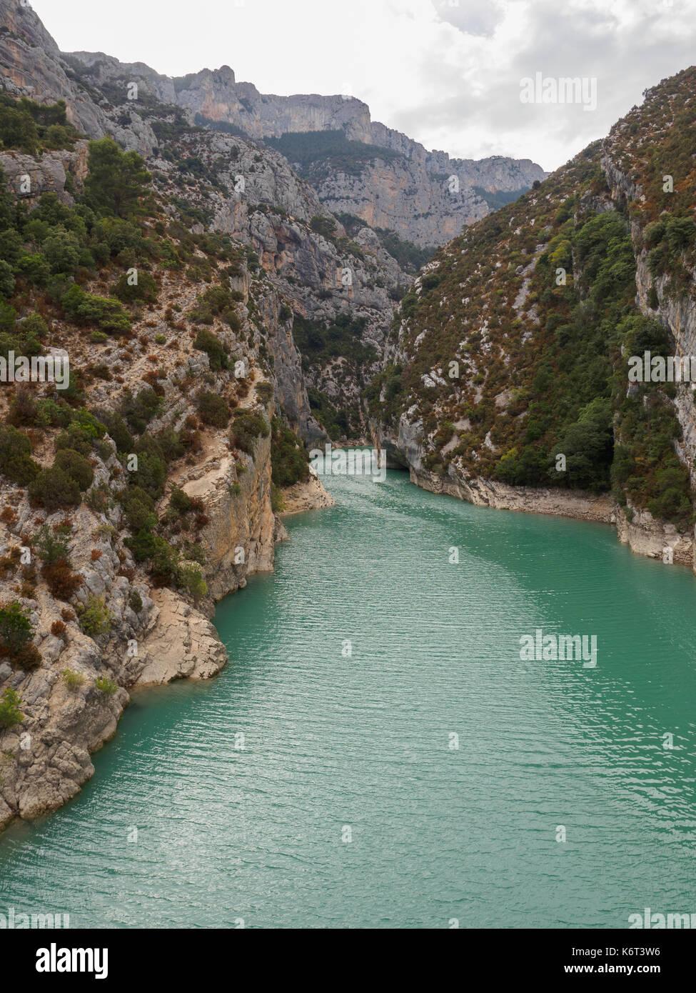 The gate of the Lac de Sainte-Croix to the Gorges du Verdon. Stock Photo