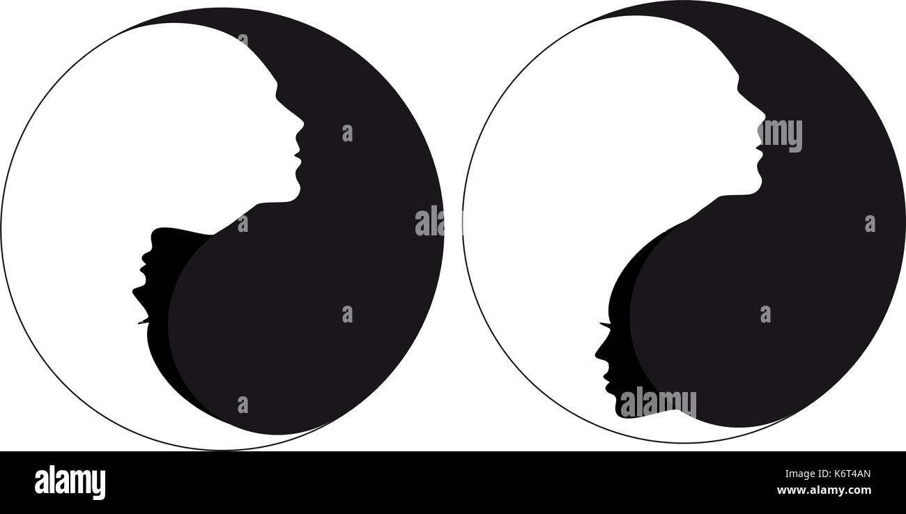 Yin Yang Symbol With Man And Woman Male And Female Faces Negative