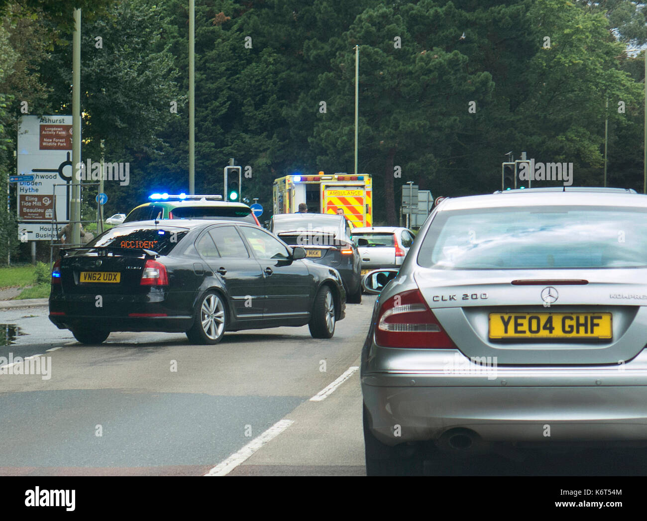 Ambulance responding to road traffic accident 2017 - Stock Image