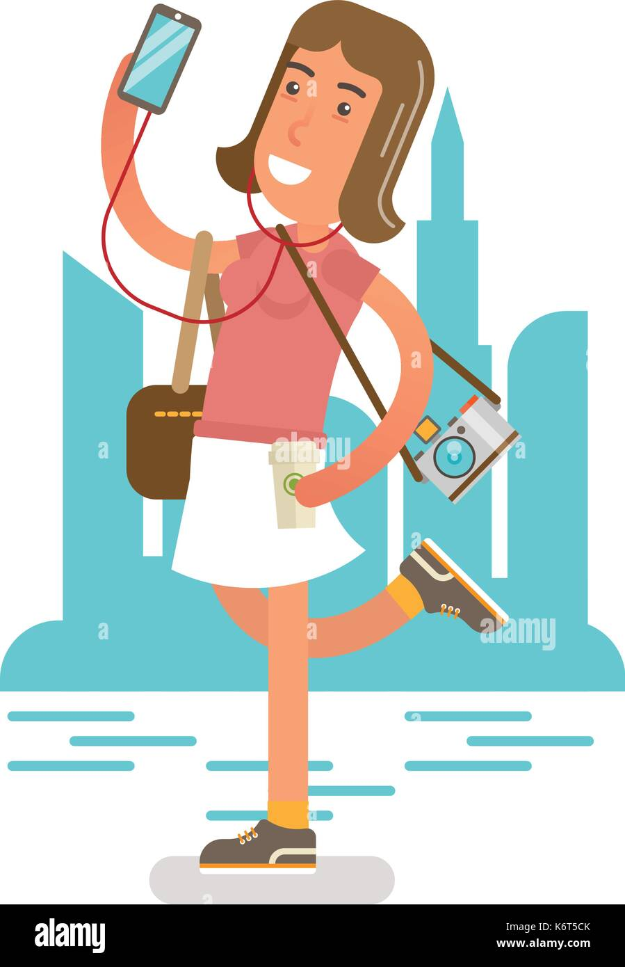 Generation Y, Millennial girl enjoying being outdoor with phone, earphones and photo camera. - Stock Vector