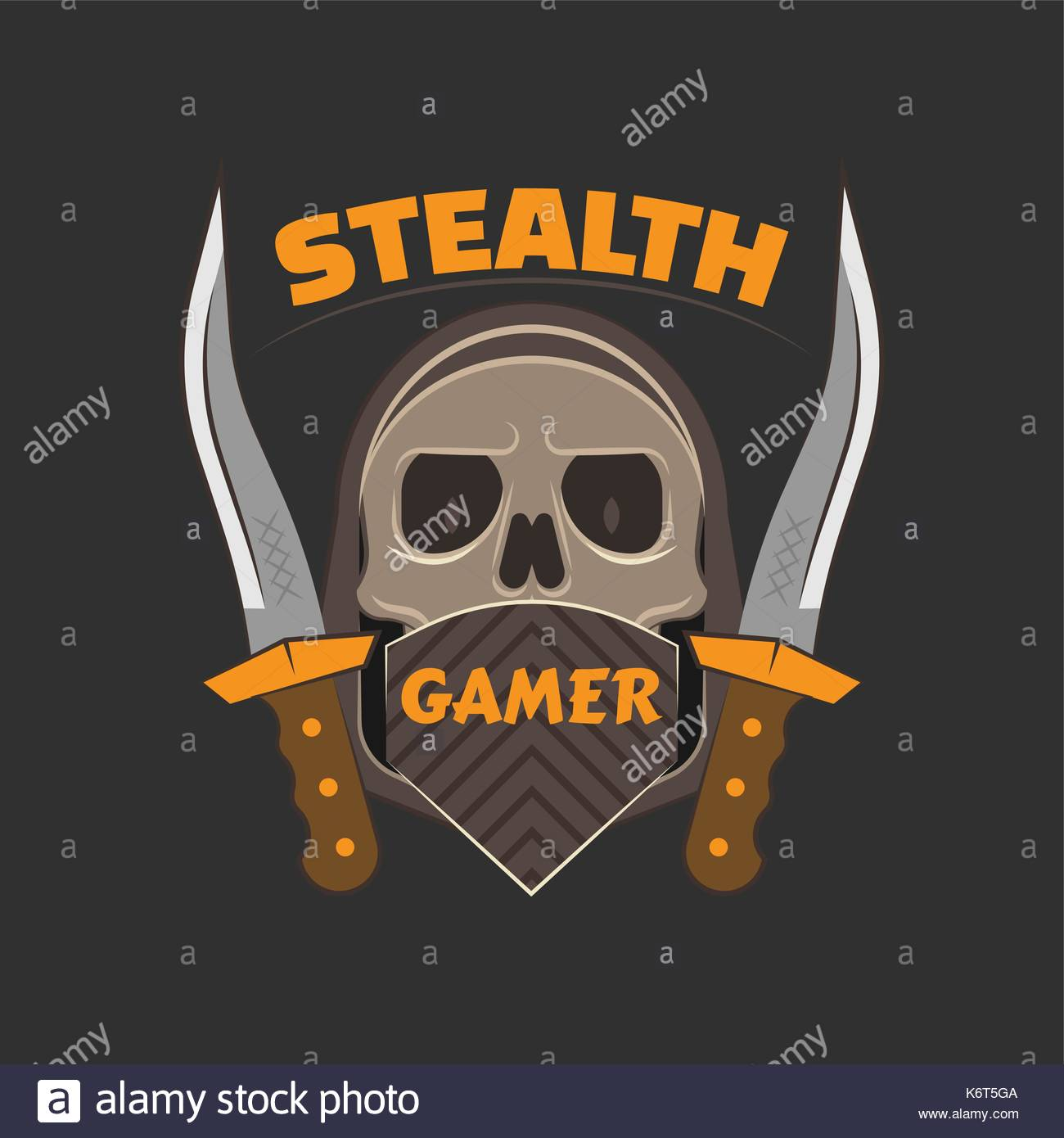 Stealth Gamer Logo With A Skull Under Face Mask And Hood And A Dirk