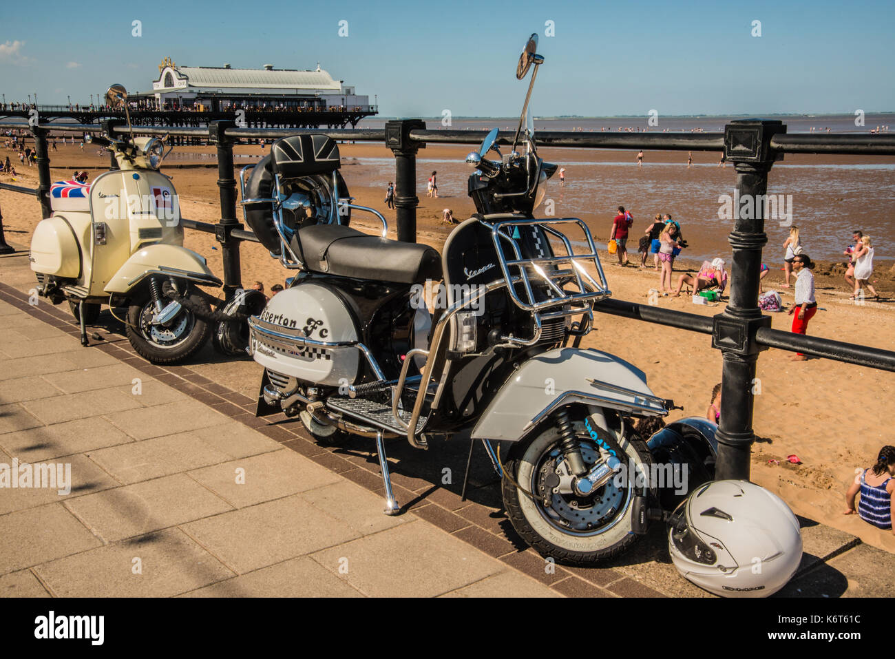 the old Vespa Scooter parked Cleethorpes  England Ray Boswell - Stock Image