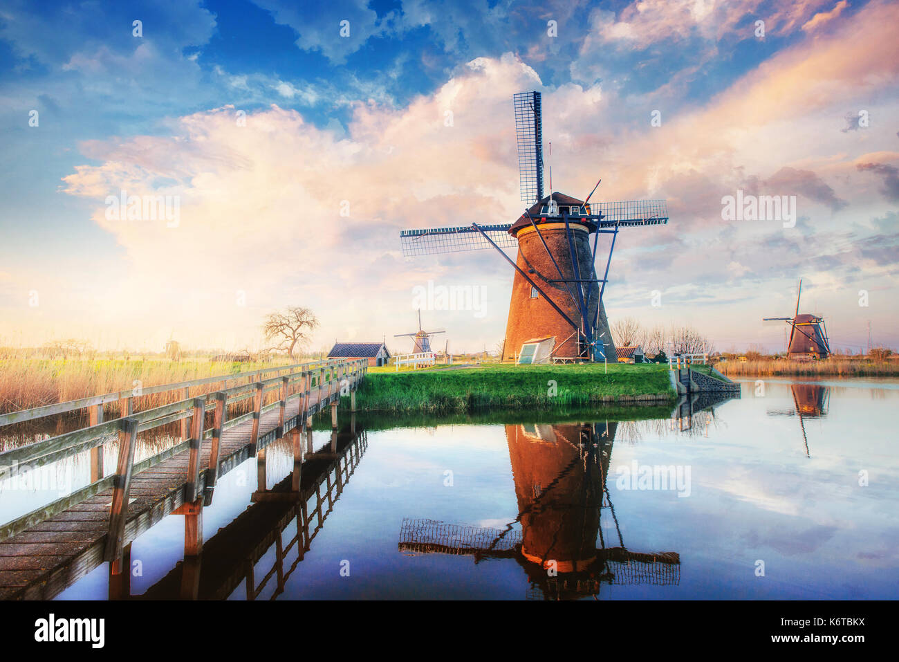 Traditional Dutch windmills from the channel Rotterdam. Holland. - Stock Image