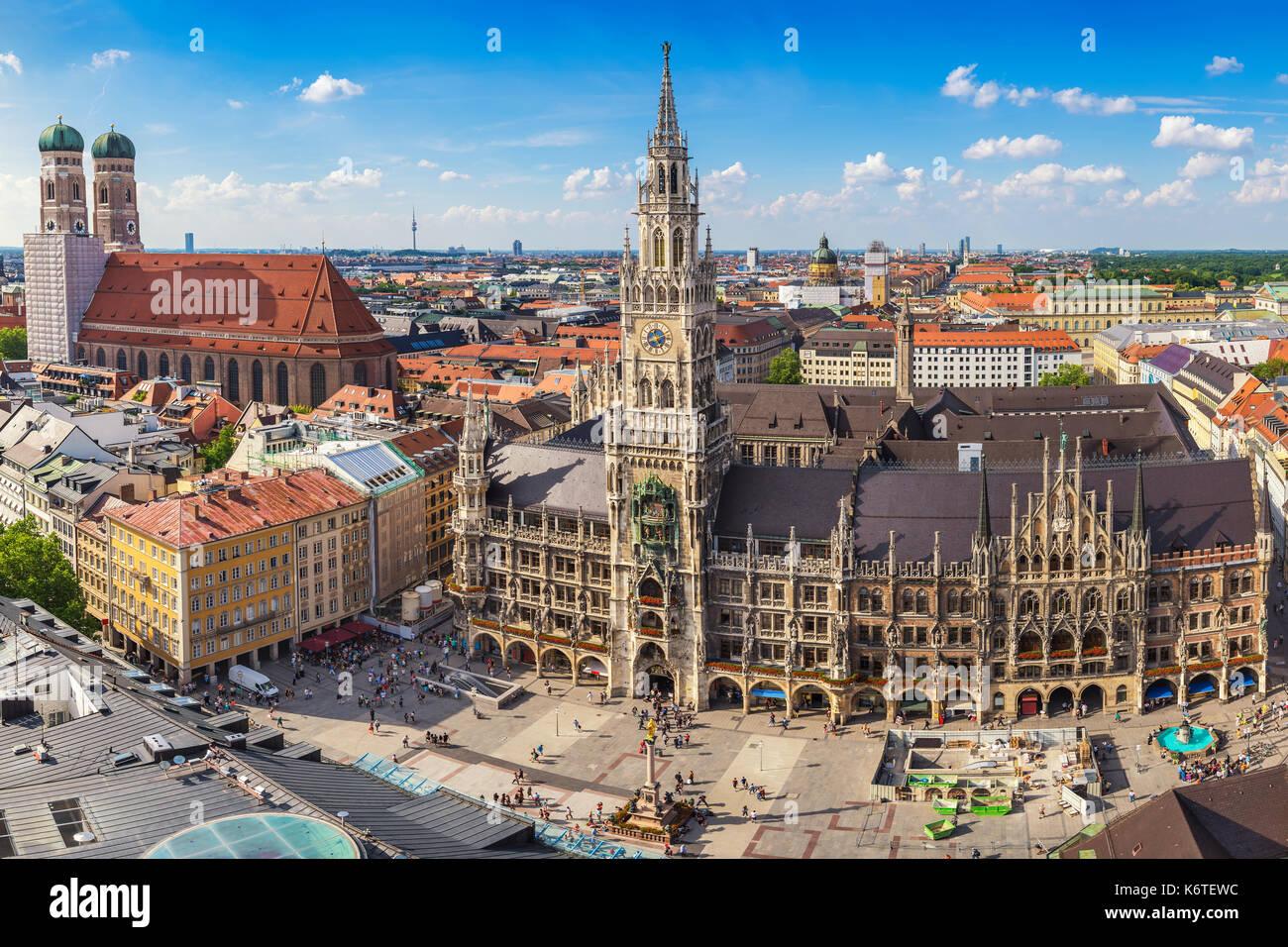 Munich city skyline at Marienplatz new town hall, Munich, Germany - Stock Image