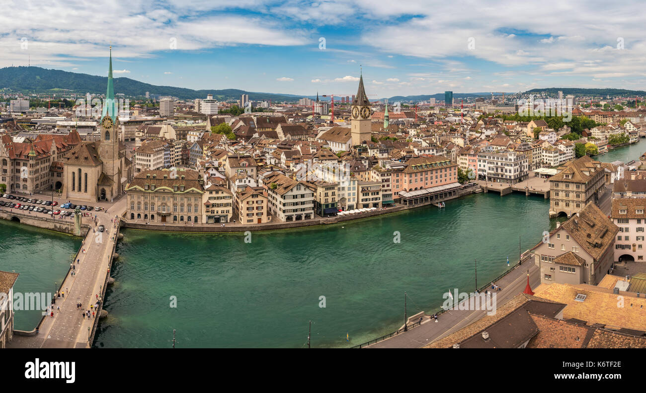 Zurich high angle view city skyline panorama at Limmat River, Zurich, Switzerland - Stock Image
