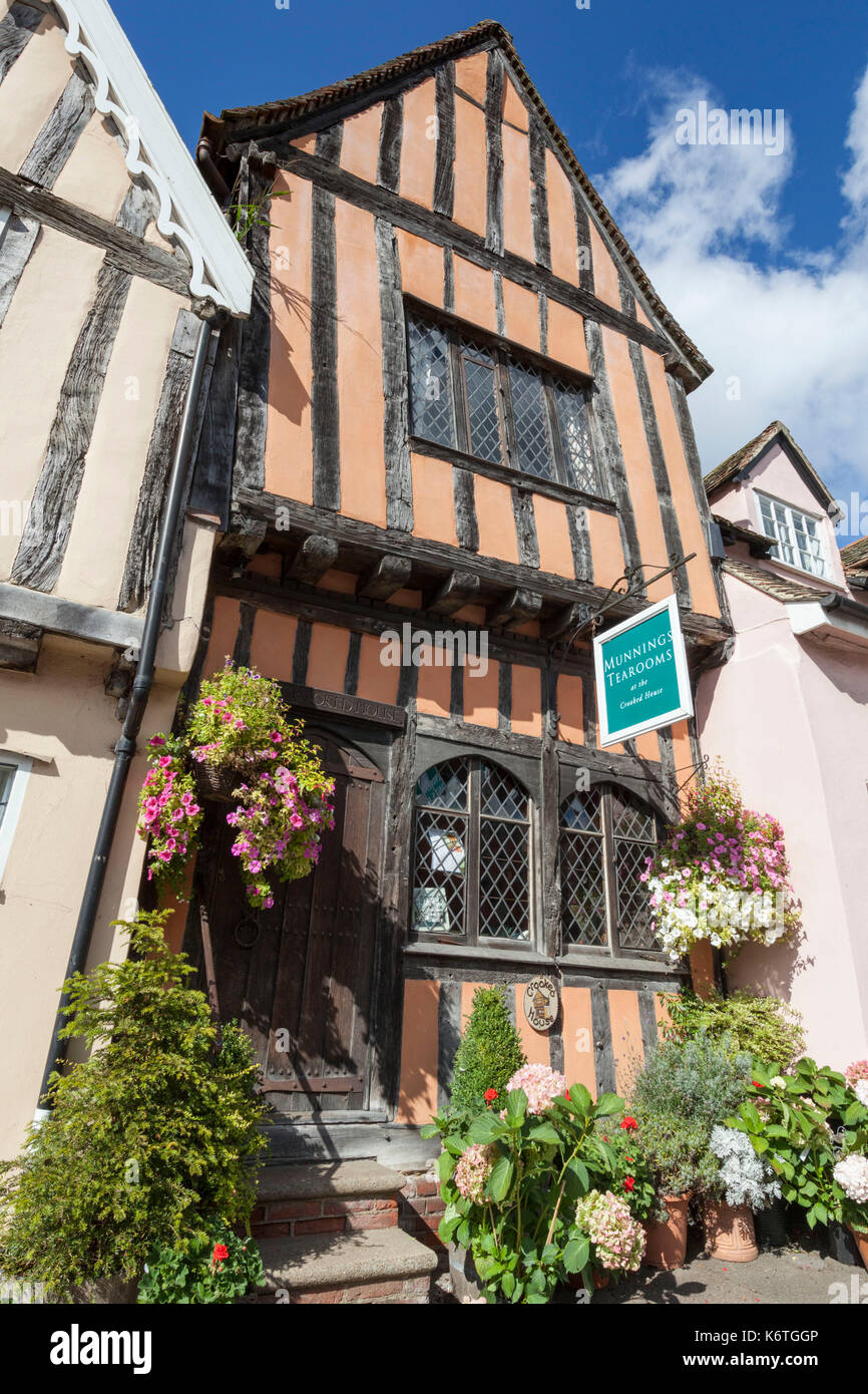 Timber framed medieval houses in Lavenham, Suffolk, England - Stock Image