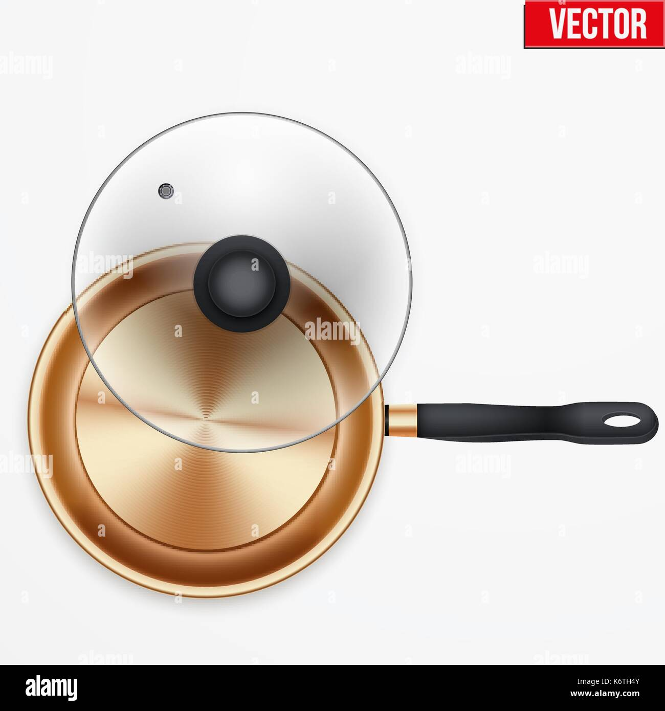 Classic brass fry pan - Stock Vector
