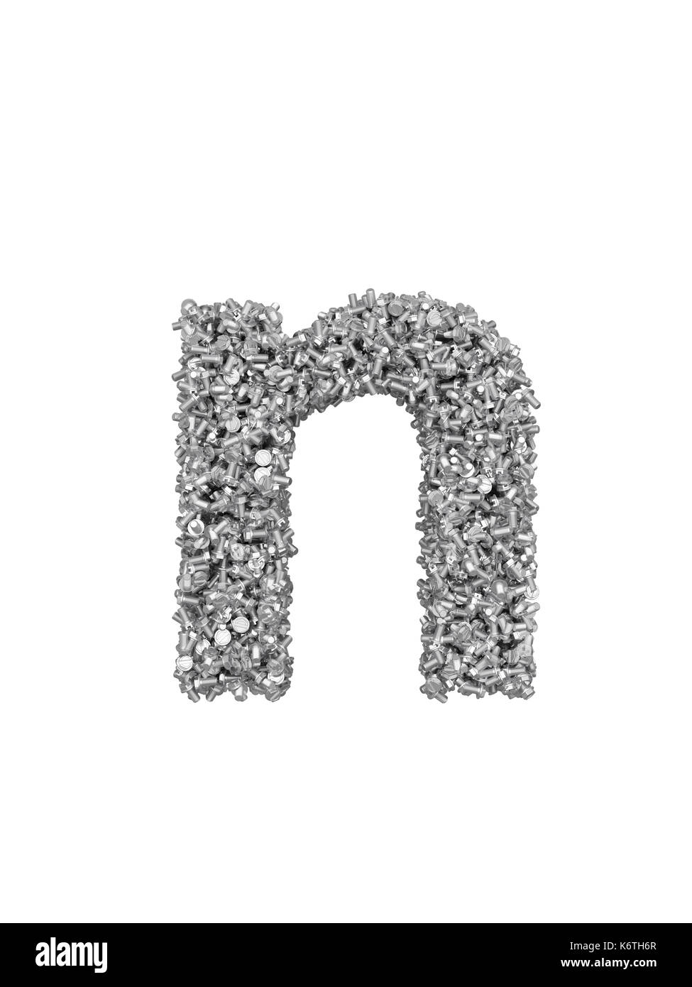 3D render of silver or grey alphabet make from bolts. small letter n with clipping path. Isolated on white background - Stock Image