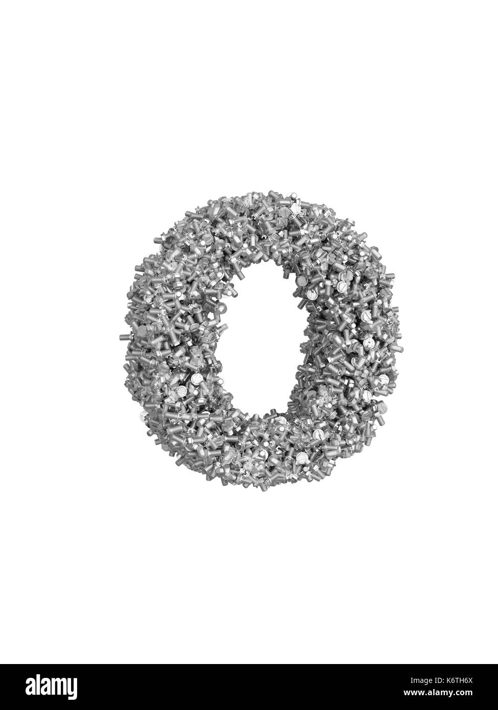 3D render of silver or grey alphabet make from bolts. small letter o with clipping path. Isolated on white background - Stock Image