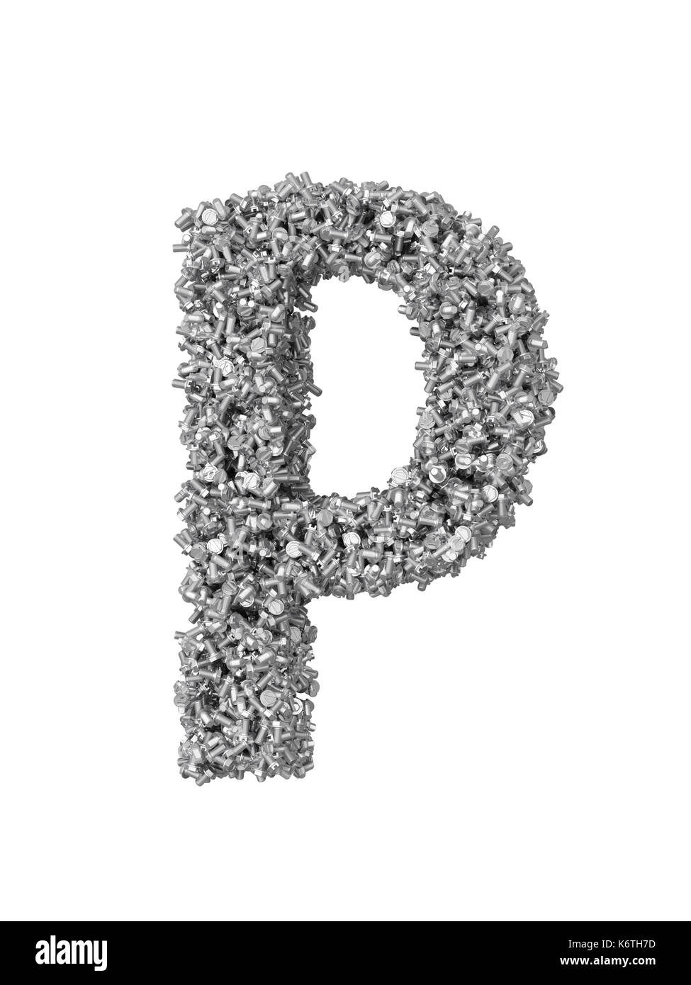 3D render of silver or grey alphabet make from bolts. small letter p with clipping path. Isolated on white background - Stock Image