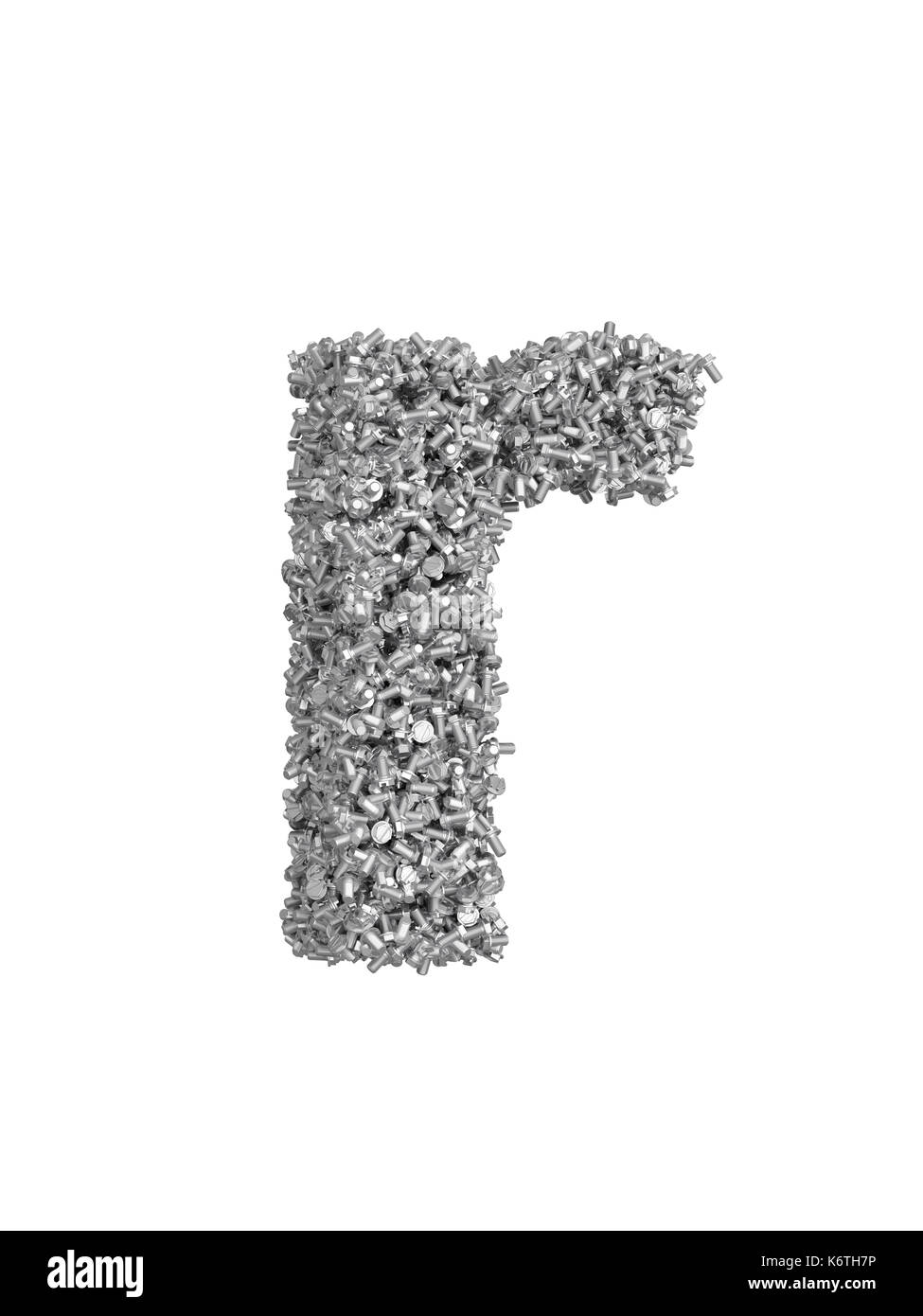 3D render of silver or grey alphabet make from bolts. small letter r with clipping path. Isolated on white background - Stock Image