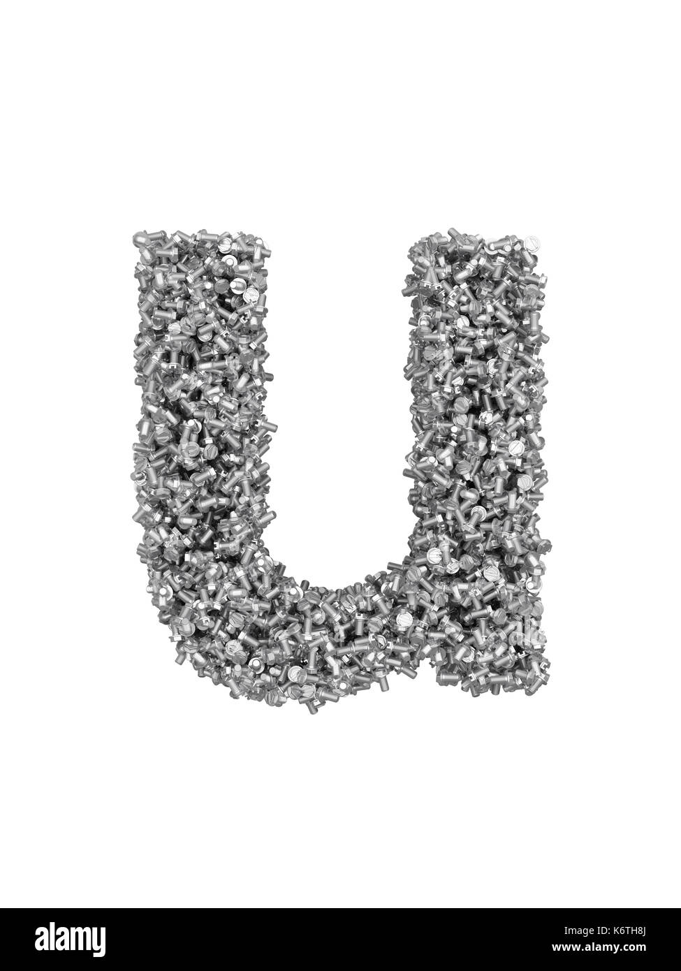 3D render of silver or grey alphabet make from bolts. small letter u with clipping path. Isolated on white background - Stock Image