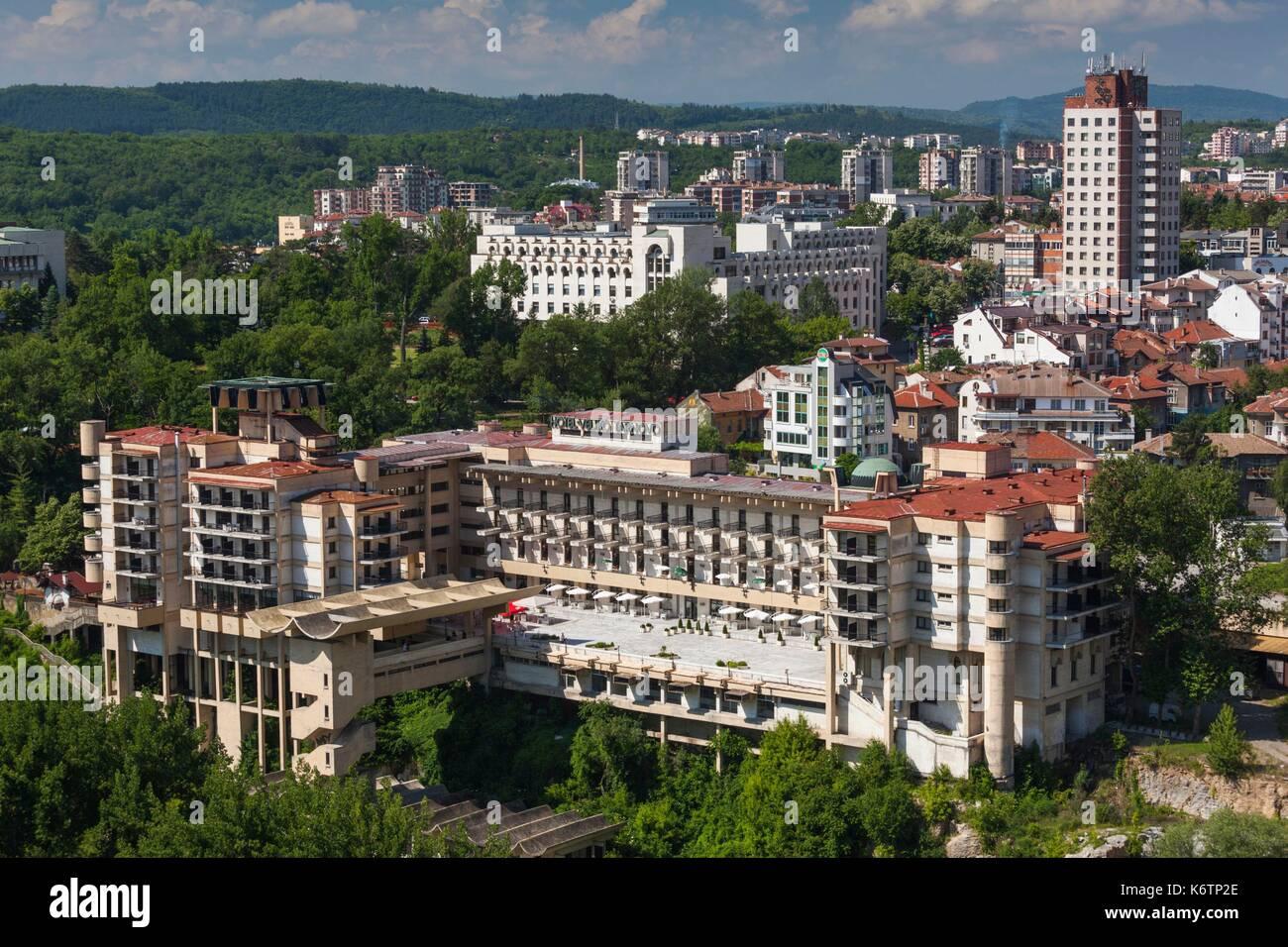 Bulgaria, Central Mountains, Veliko Tarnovo, New Town, elevated view Stock Photo