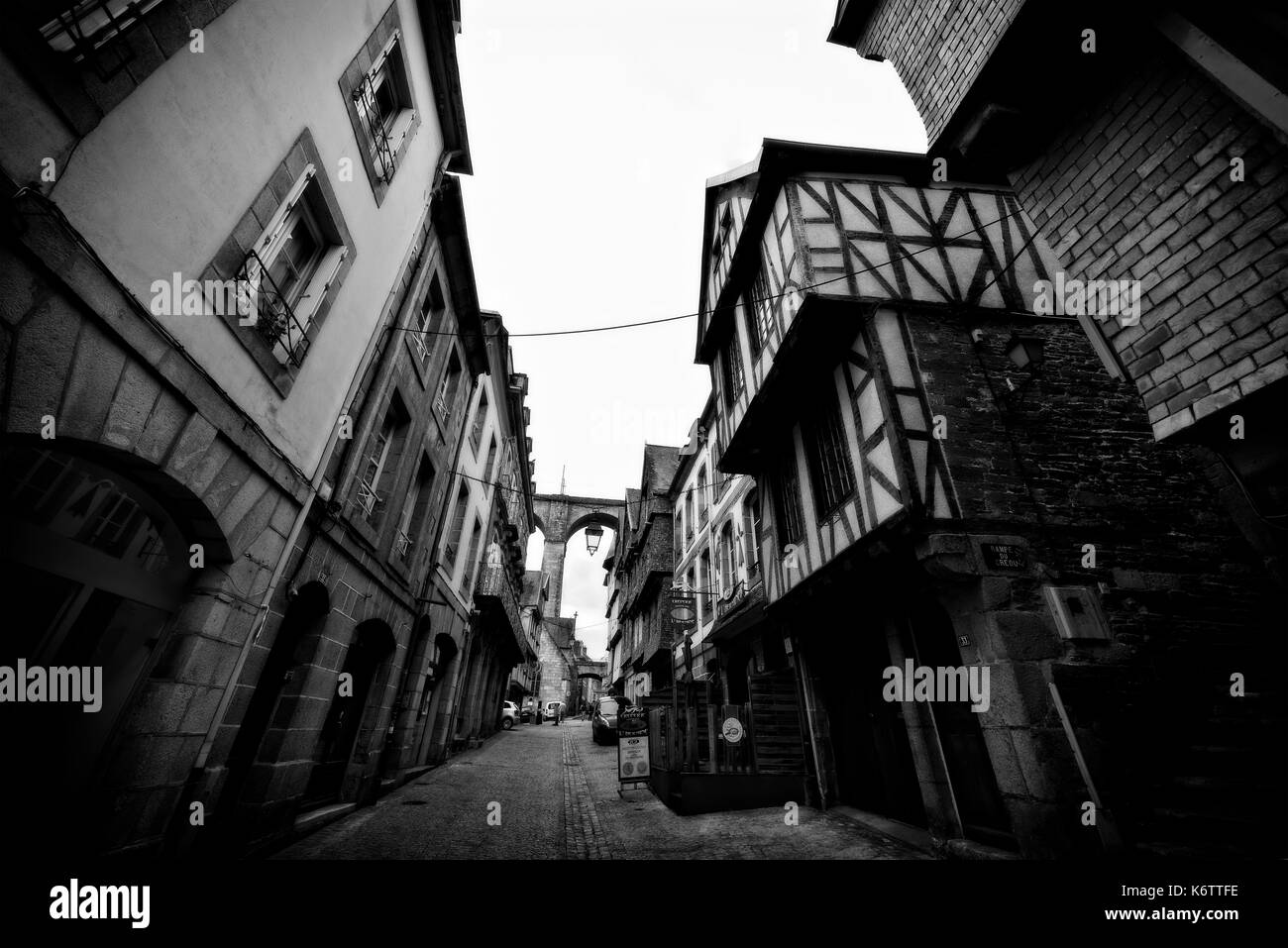 City Street scenes in black and white of the old part of the city - Stock Image